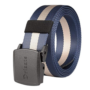 Drizzte 47-71'' Plus Size Military Duty Web Nylon Belt Plastic Buckle Khaki Blue