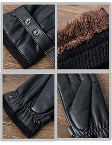 SANKUU Men's Winter Gloves Leather Touchscreen Snap Closure Cycling Glove Outdoor Riding Warm Waterproof Gloves