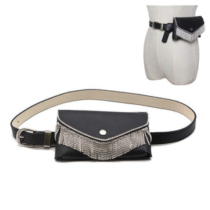 Fashion Luxury Rhinestone Tassel Fanny Pack,VITORIA'S GIFT Removable Belt With MINI Purse Travel Cell Phone Bag