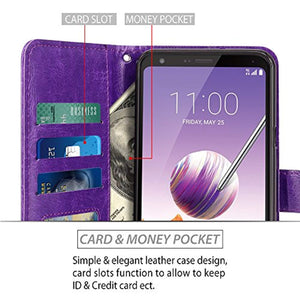 LG Stylo 4 Case, LG Q Stylus Case, LK [Wrist Strap] Luxury PU Leather Wallet Flip Protective Case Cover with Card Slots and Stand for LG Stylo 4/LG Q Stylus - Purple