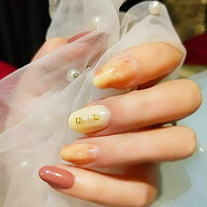 HeeJinn Short False Nails, Dark Green and Gold Foil Fake Nails, Full Cover Nails With Glue Artificial Nails for Women