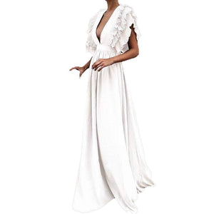 Women Vintage Fly Sleeve Backless Deep V-Neck Long Wedding Evening Party Maxi Dress Plus Size