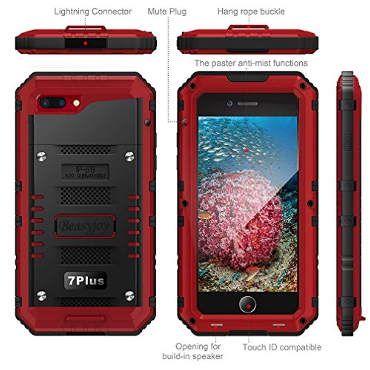 Waterproof Case Compatible with iPhone 7 Plus iPhone 8 Plus Heavy Duty with Built-in Screen Full Body Protection,Beasyjoy Durable Shell Waterproof,Shockproof Drop Proof Tough Rugged Hybrid Hard Cover Metal Armor Military Grade Defender for Outdoor