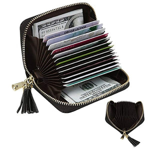 Women's RFID Blocking 15 Slots Card Holder Leather Zipper Accordion Wallet