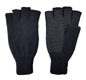 Bruceriver Men's Wool knitted Fingerless Ragg Gloves with Thinsulate Lining