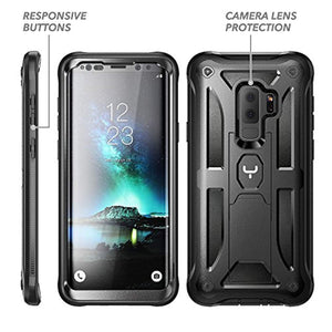 Galaxy S9+ Plus Case, YOUMAKER Full Body Rugged Kickstand with Built-in Screen Protector Heavy Duty Protection Shockproof Case Cover for Samsung Galaxy S9 Plus 6.2 inch (2018) [Retail Package] - Black