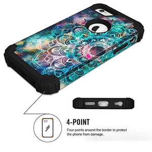 iPhone 6s Case, iPhone 6 Case, Hocase Shockproof Heavy Duty Hard Plastic+Silicone Rubber Bumper Full Body Protective Case with 4.7-inch Display for iPhone 6s/iPhone 6 - Mandala in Galaxy