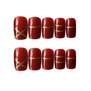 24 Pcs False Nails with 12 Different Sizes Fakes Nail, Square Short Fakes Nails with Gold Rim Artificial Nails Press on Nails for Women (Red)