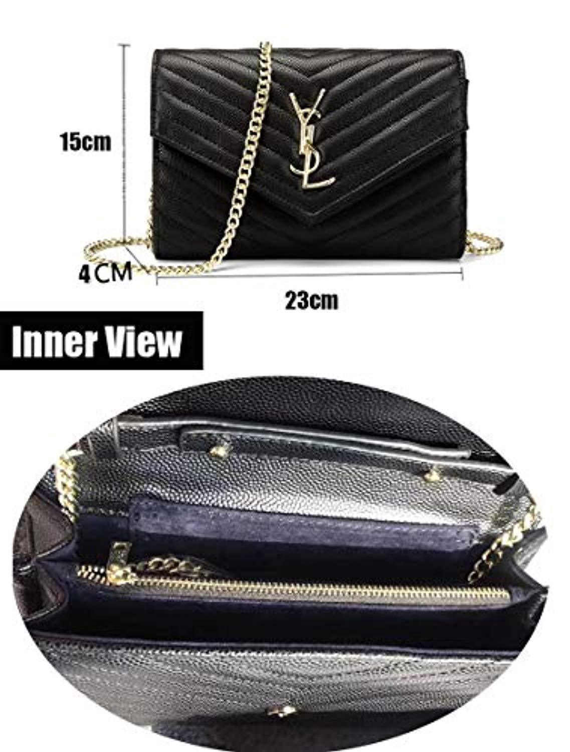Simple Small Crossbody Bag Quilted Shoulder Purse With Golden Chain Strap