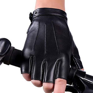 Fingerless Gloves Faux Polyurethane Leather Gloves Touchscreen Texting Dress Driving Moto Glove for Men Women Teens