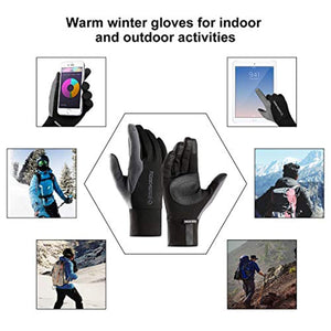 FitsT4 Winter Warm Touchscreen Windproof Gloves Cold Weather Waterproof Non-Slip Glove for Cycling Running Outdoor Activities