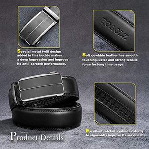 TOAOLZ Mens Dress Leather Slide Ratchet Belt with Automatic Buckle Click Track Strap