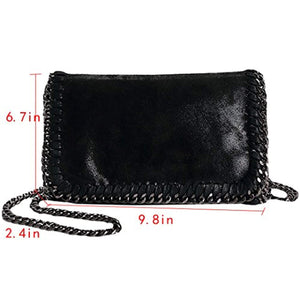 Felice Women Chain Paillette Handbags Purse Hobo Hipster Foldover Tote Shoulder Crossbody Bag