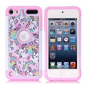 Apple iPod Touch 6th Case, iPod 5th Generation Case, Rainbow Unicorn Pattern Shockproof Studded Rhinestone Crystal Bling Hybrid Case Silicone Protective Armor for Apple iPod Touch 5 6th Generation