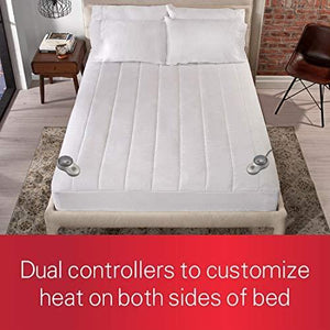 Sunbeam Heated Mattress Pad | Quilted Polyester, 10 Heat Settings, White,Queen - MSU3GQS-P000-12A00