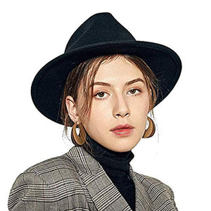 Felt Women Fedora Hat Floppy Elegant Wide Brim Lady Bowler Cap for Fall Winter