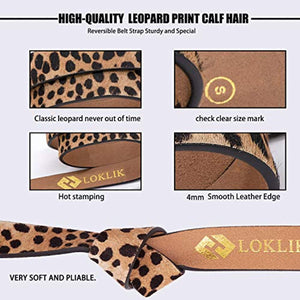 Women's Leopard Print Leather Belt for Pants Dress Jeans Waist Belt with Alloy Buckle By LOKLIK