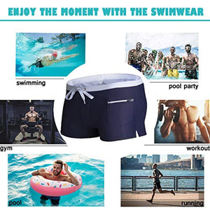 Showtime Men's Quick Dry Solid Nylon Swim Trunks with Pockets