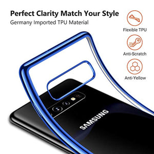 TORRAS Crystal Clear Galaxy S10 Case 6.1 inch, Soft TPU with Stylish Edge Thin Slim Fit Gel Transparent Phone Cover Case Compatible with Samsung Galaxy S10 2019, Starlight Blue