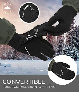 Running Sports Gloves with Convertible Mitten Cover - Touchscreen Compatible - Windproof & Thermal Glove Liners Designed for Cycling, Texting, Driving - 90% Nylon 10% Spandex Blend - Fits Men & Women