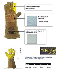 Nwt Gloves 35cm Animal Handling GAUNTLET LEATHER Kevlar DOG CAT BIRD REPTILE