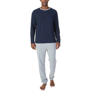 Nautica Men's Thermal Long Sleeve Crew Neck Top and Knit Pant Sleep Lounge Set