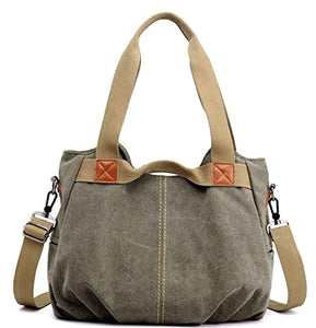 Z-joyee Women's Ladies Casual Vintage Hobo Canvas Daily Purse Top Handle Shoulder Tote Shopper Handbag