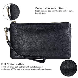 Befen Women Genuine Leather Clutch Wallet, Smartphone Wristlet Purse - Fit iPhone 8 Plus