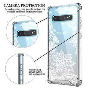 Case for Galaxy S10+ Plus,Cutebe Shockproof Series Hard PC+ TPU Bumper Protective Case for Samsung Galaxy S10 Plus 6.4 Inch 2019 Release Crystal Lace Design