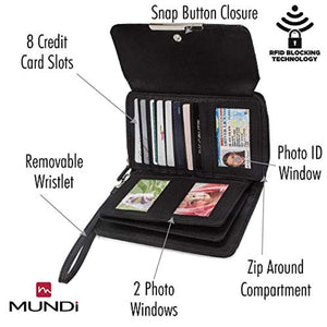 MUNDI Big Fat Womens RFID Blocking Wallet Clutch Organizer Removable Wristlet