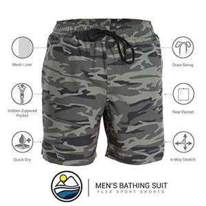 Men's Swim Trunks and Workout Shorts - Camouflage - Swimsuit or Athletic Shorts - Adults Boys