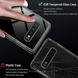 ESR Mimic Series Glass Case Compatible with Samsung Galaxy S10, 9H Tempered Glass Hybrid Back Cover [Mimics The Glass Back of The S10] Scratch-Resistant + Soft TPU Bumper for Galaxy S10, Clear