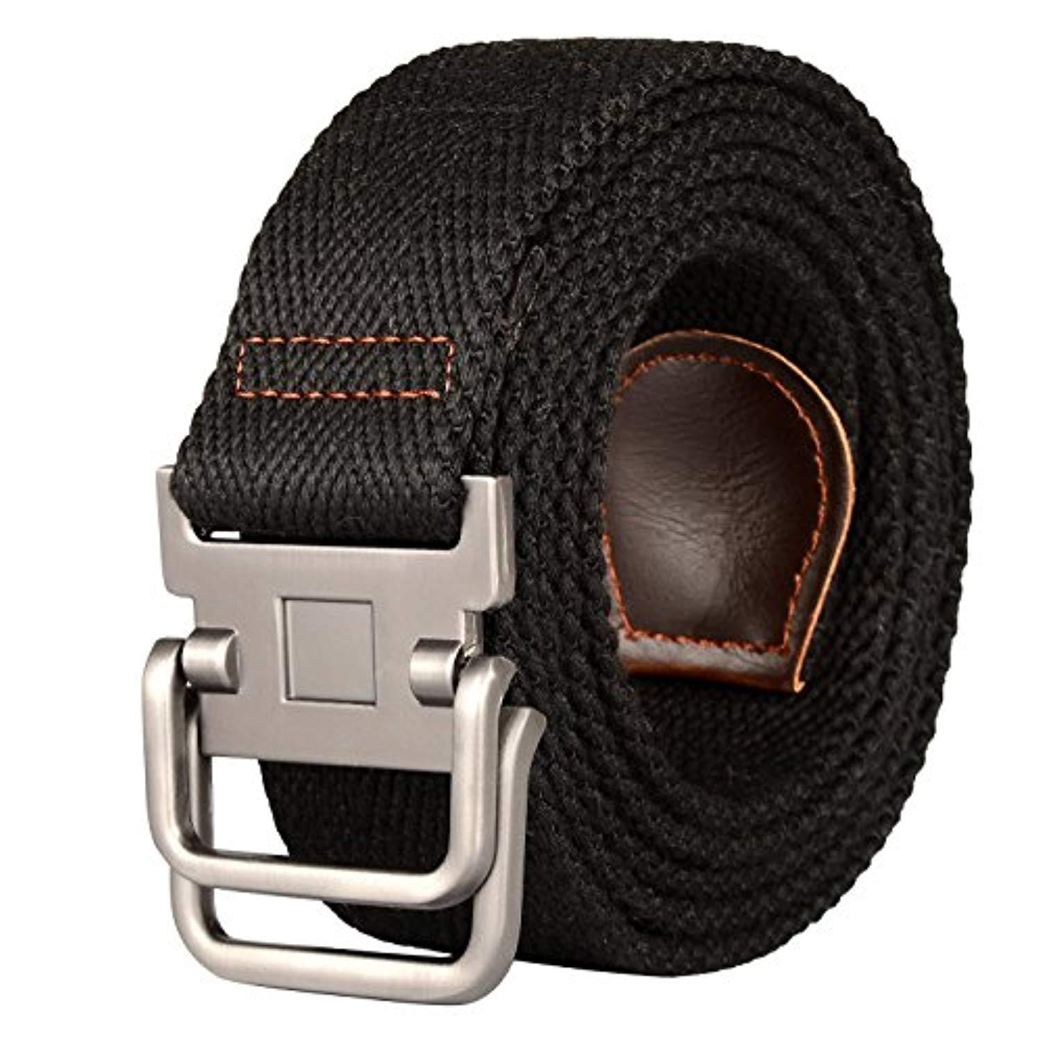 Drizzte Plus Size 39-71/'/' Long Double Ring Big Mens Canvas Fabric Cloth Belts