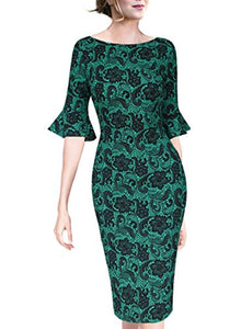 Womens Elegant Bell Sleeve Wear to Work Party Cocktail Sheath Dress