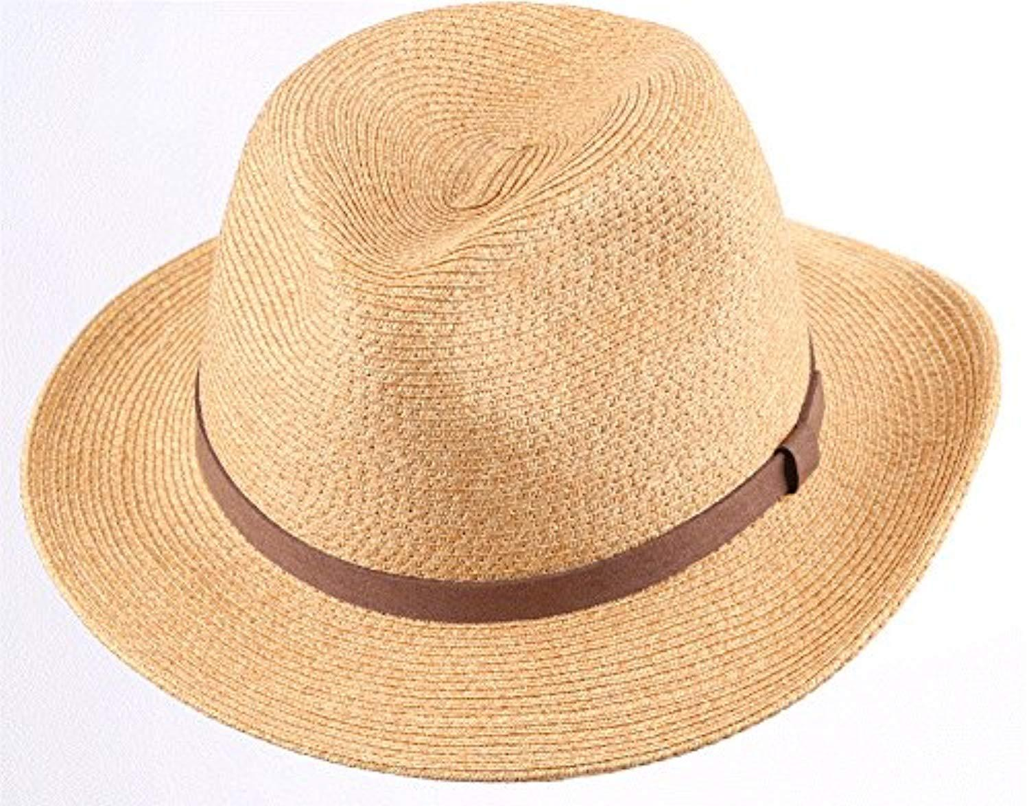 Mens Womens Summer Sun Hat Straw Hat Brown Corded Band