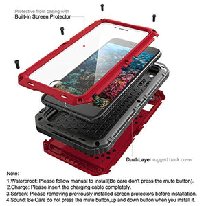 Waterproof Case Compatible with iPhone 7 Plus/iPhone 8 Plus, Beasyjoy Heavy Duty Case Built-in Screen Full Body Protective Shockproof Tough Rugged Hybrid Military Grade Defender Outdoor Red