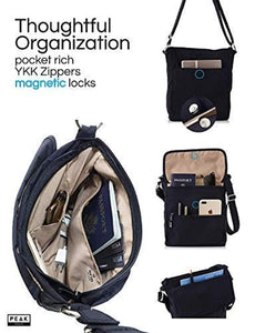Travel Crossbody Purse - Hidden RFID Pocket - Includes Lifetime Lost & Found ID