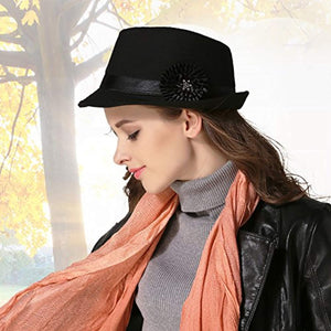 Women Vintage Top Hat Party Cap Trilby Classic Flower Elegant Panama Hat Retro Warm Bowler Hat