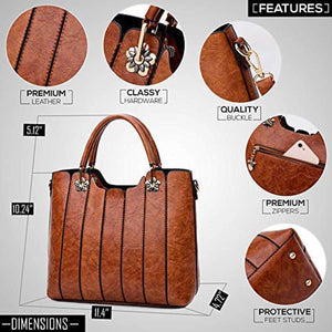 Ladies Leather Bag with Top Handles - Women Handbag and Purse