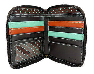 CHALA Zip Around Wallet, Wristlet, 8 Credit Card Slots, Sturdy Pu Leather