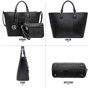 Women Vegan Ostrich Leather Handbag Tote Bag Top Handle Purse Satchel Hobo Bag 2 Handbags Set For Women