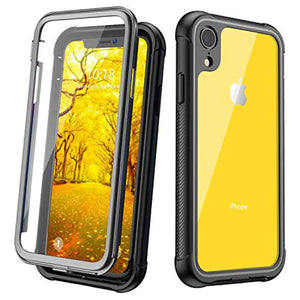 JUSTCOOL Designed for iPhone XR Case, Clear Full Body Heavy Duty Protection with Built-in Screen Protector Shockproof Rugged Cover Designed for iPhone XR Cases (2018) 6.1 Inch (Black/Gray+Clear)