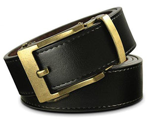 Men's Holeless Leather Ratchet Click Belt - Trim to Perfect Fit (Various Styles and Colors)