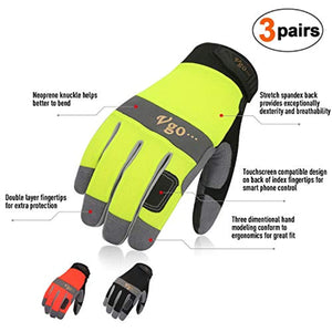 Vgo 3Pairs Synthetic Leather Work Gloves (Size L,Black/Fluorescence green/Orange,SL7584)