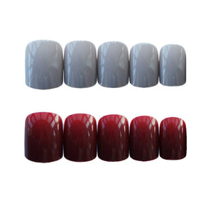 24Pcs Fake Nail Red and Grey Color with12 Different Sizes, Short Round Head Full Cover False Nails Artificial Nails for Women