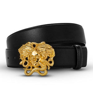 Fashion Leather Snake Head Belt Medusa Head Luxury Band Designer Belt