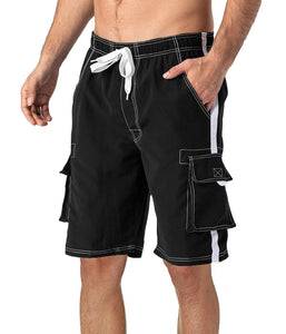 MAGCOMSEN Men's Swim Trunks with Mesh Liner 4 Pockets Quick Dry Beachwear Swimuits Board Shorts