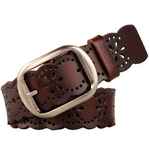 JASGOOD Women's Hollow Flower Genuine Cowhide Leather Belt With Alloy Buckle