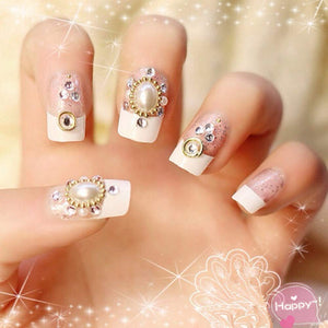 HeeJinn 3D French False Nails Pearls and Rhinestones Artificial Nails for Bride