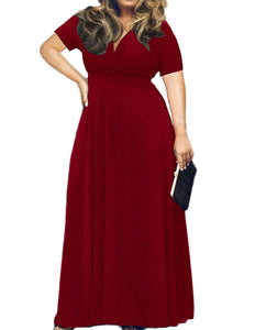 Women's Solid V-Neck Short Sleeve Plus Size Evening Party Maxi Dress